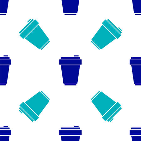 Blue Fitness shaker icon isolated seamless pattern on white background. Sports shaker bottle with lid for water and protein cocktails. Vector Ilustracja