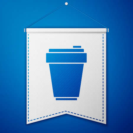 Blue Fitness shaker icon isolated on blue background. Sports shaker bottle with lid for water and protein cocktails. White pennant template. Vector
