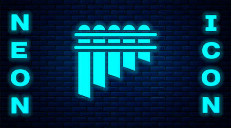 Glowing neon Pan flute icon isolated on brick wall background. Traditional peruvian musical instrument. Zampona. Folk instrument from Peru, Bolivia and Mexico. Vector