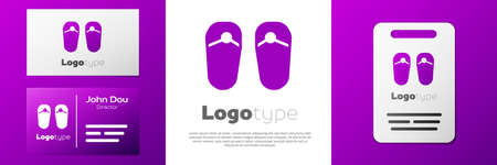Logotype Flip flops icon isolated on white background. Beach slippers sign. Logo design template element. Vector