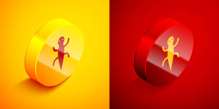 Isometric Lizard icon isolated on orange and red background. Circle button. Vector