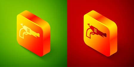 Isometric Revolver gun icon isolated on green and red background. Square button. Vector
