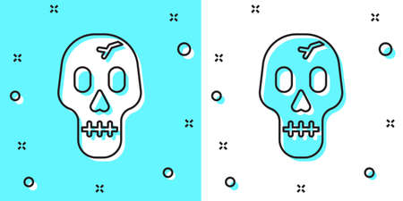 Black line Skull icon isolated on green and white background. Happy Halloween party. Random dynamic shapes. Vector