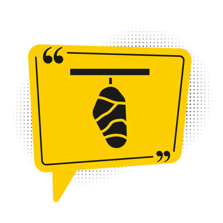 Black Butterfly cocoon icon isolated on white background. Pupa of the butterfly. Yellow speech bubble symbol. Vector