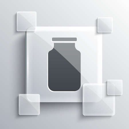 Grey Glass jar with screw-cap icon isolated on grey background. Square glass panels. Vector
