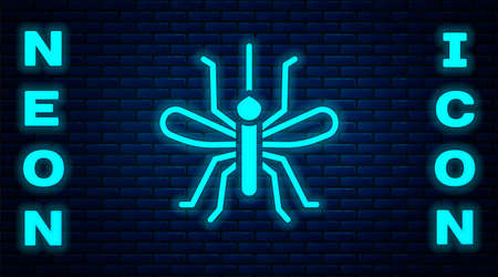 Glowing neon Mosquito icon isolated on brick wall background. Vector