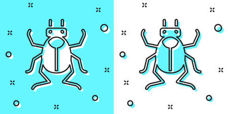 Black line Beetle bug icon isolated on green and white background. Random dynamic shapes. Vector Illustration