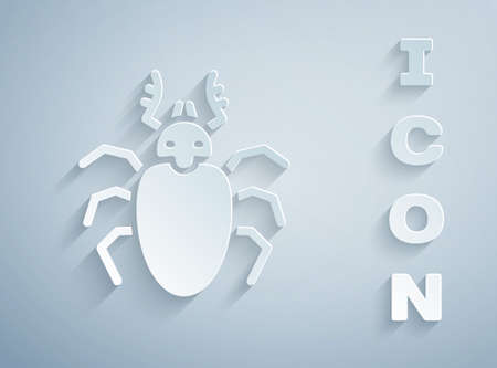Paper cut Beetle deer icon isolated on grey background. Horned beetle. Big insect. Paper art style. Vector