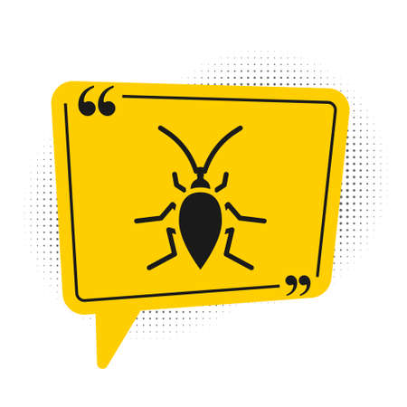 Black Cockroach icon isolated on white background. Yellow speech bubble symbol. Vector Ilustracja