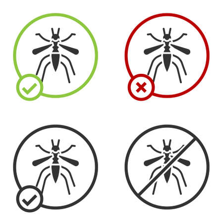 Black Mosquito icon isolated on white background. Circle button. Vector Illustration