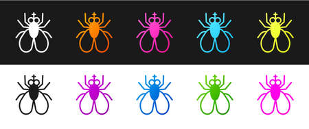 Set Insect fly icon isolated on black and white background. Vector Illustration