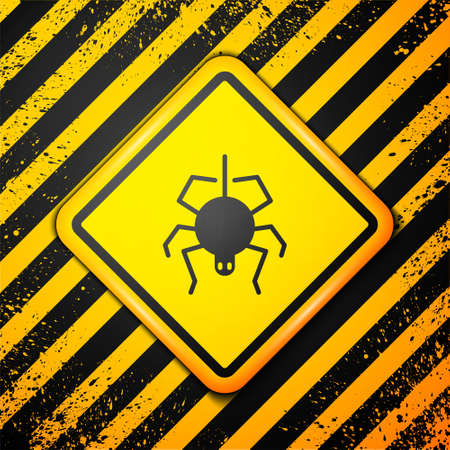 Black Spider icon isolated on yellow background. Happy Halloween party. Warning sign. Vector