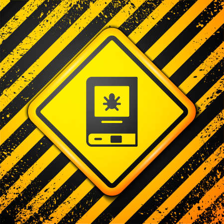 Black Book about insect icon isolated on yellow background. Warning sign. Vector