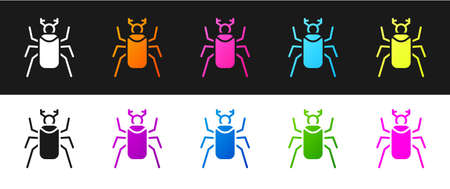 Set Beetle bug icon isolated on black and white background. Vector