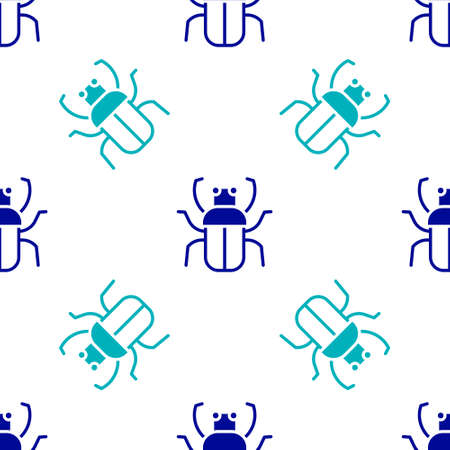 Blue Stink bug icon isolated seamless pattern on white background. Vector Ilustracja