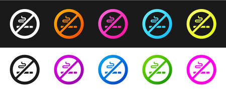 Set No Smoking icon isolated on black and white background. Cigarette symbol. Vector