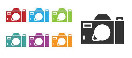 Black Photo camera icon isolated on white background. Foto camera icon. Set icons colorful. Vector  イラスト・ベクター素材