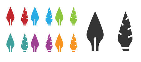 Black Stone age arrow head icon isolated on white background. Medieval weapon. Set icons colorful. Vector