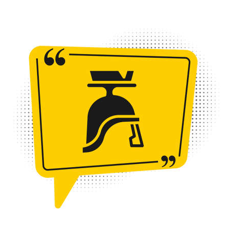 Black Roman army helmet icon isolated on white background. Yellow speech bubble symbol. Vector