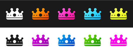 Set King crown icon isolated on black and white background. Vector  イラスト・ベクター素材