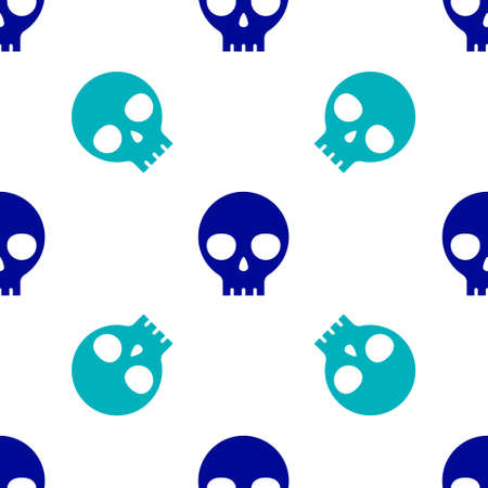 Blue Human skull icon isolated seamless pattern on white background. Vector