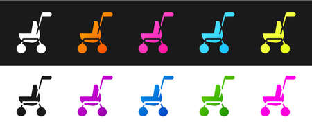 Set Baby stroller icon isolated on black and white background. Baby carriage, buggy, pram, stroller, wheel. Vector