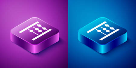 Isometric Abacus icon isolated on blue and purple background. Traditional counting frame. Education sign. Mathematics school. Square button. Vector Ilustracja