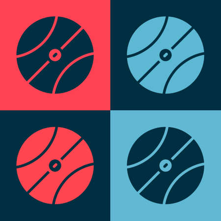 Pop art Basketball ball icon isolated on color background. Sport symbol. Vector