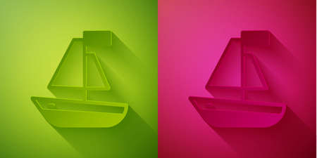 Paper cut Toy boat icon isolated on green and pink background. Paper art style. Vector Ilustracja