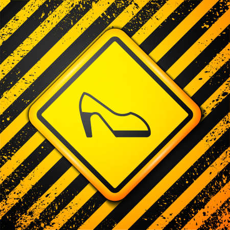 Black Woman shoe with high heel icon isolated on yellow background. Warning sign. Vector