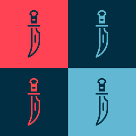 Pop art Dagger icon isolated on color background. Knife icon. Sword with sharp blade. Vector Ilustracja