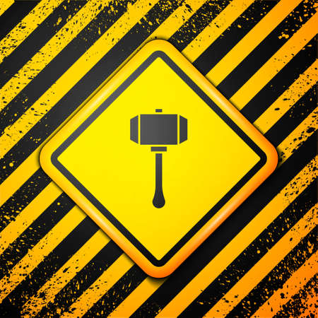 Black Hammer icon isolated on yellow background. Tool for repair. Warning sign. Vector Ilustracja