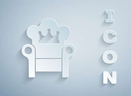 Paper cut Medieval throne icon isolated on grey background. Paper art style. Vector Ilustracja