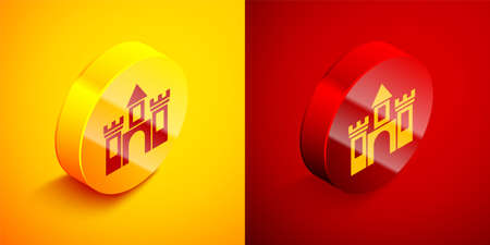 Isometric Castle icon isolated on orange and red background. Medieval fortress with a tower. Protection from enemies. Reliability and defense of the city. Circle button. Vector