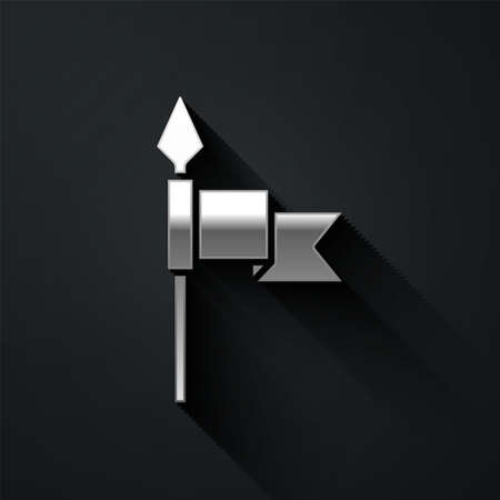 Silver Medieval spear icon isolated on black background. Medieval weapon. Long shadow style. Vector Ilustracja
