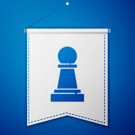 Blue Chess icon isolated on blue background. Business strategy. Game, management, finance. White pennant template. Vector