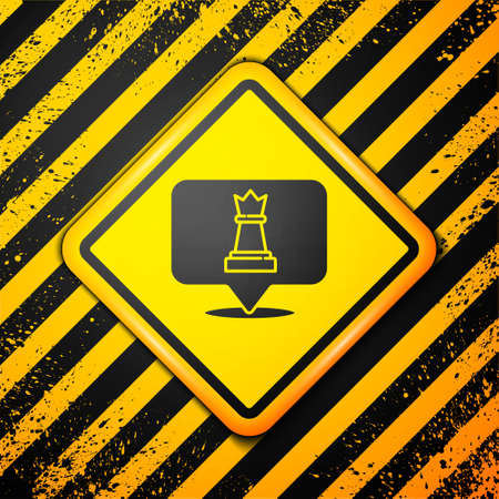 Black Chess icon isolated on yellow background. Business strategy. Game, management, finance. Warning sign. Vector