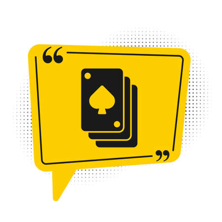 Black Playing cards icon isolated on white background. Casino gambling. Yellow speech bubble symbol. Vector