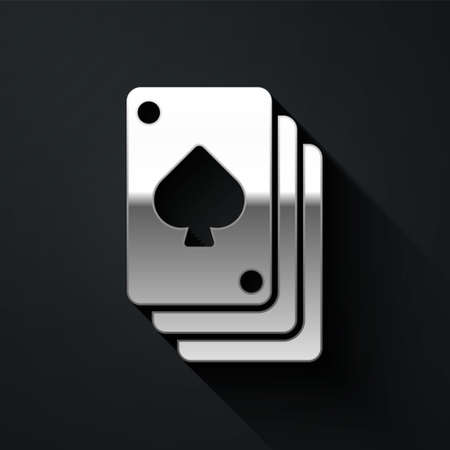 Silver Playing cards icon isolated on black background. Casino gambling. Long shadow style. Vector