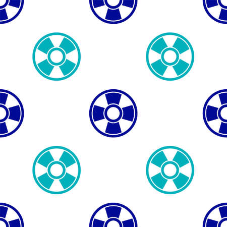 Blue Casino chip icon isolated seamless pattern on white background. Casino gambling. Vector Ilustracja