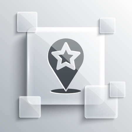 Grey Map pointer with star icon isolated on grey background. Star favorite pin map icon. Map markers. Square glass panels. Vector