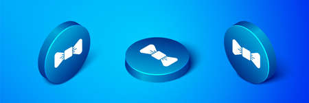 Isometric Bow tie icon isolated on blue background. Blue circle button. Vector Illustration