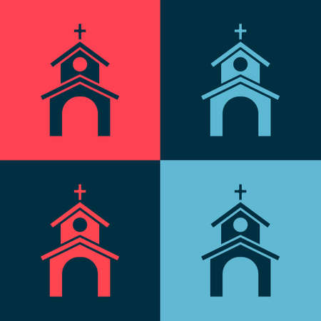 Pop art Church building icon isolated on color background. Christian Church. Religion of church. Vector