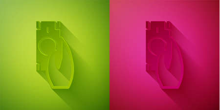 Paper cut Fast payments icon isolated on green and pink background. Fast money transfer payment. Financial services, fast loan, time is money, cash back concept. Paper art style. Vector Ilustracja