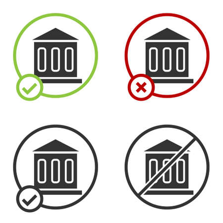 Black Bank building icon isolated on white background. Circle button. Vector Ilustracja