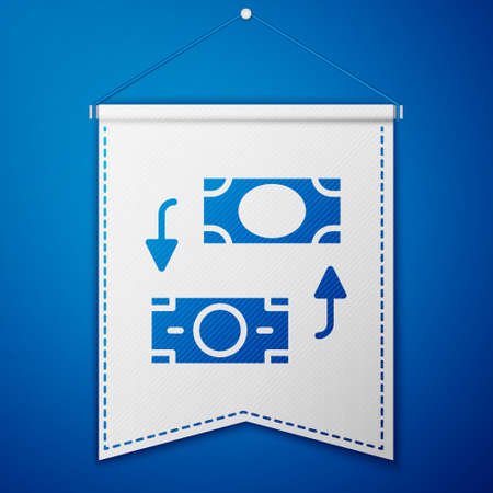Blue Money exchange icon isolated on blue background. Cash transfer symbol. Banking currency sign. White pennant template. Vector