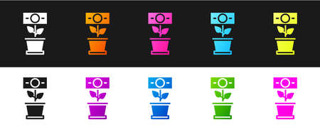 Set Money plant in the pot icon isolated on black and white background. Business investment growth concept. Money savings and investment. Vector