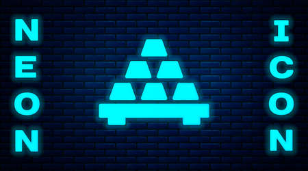 Glowing neon Gold bars icon isolated on brick wall background. Banking business concept. Vector