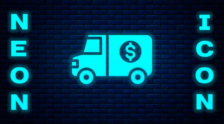 Glowing neon Armored truck icon isolated on brick wall background. Vector Ilustracja