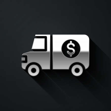 Silver Armored truck icon isolated on black background. Long shadow style. Vector